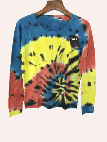CASHMERE SWEATER WITH DAZZLING TIE-DYE