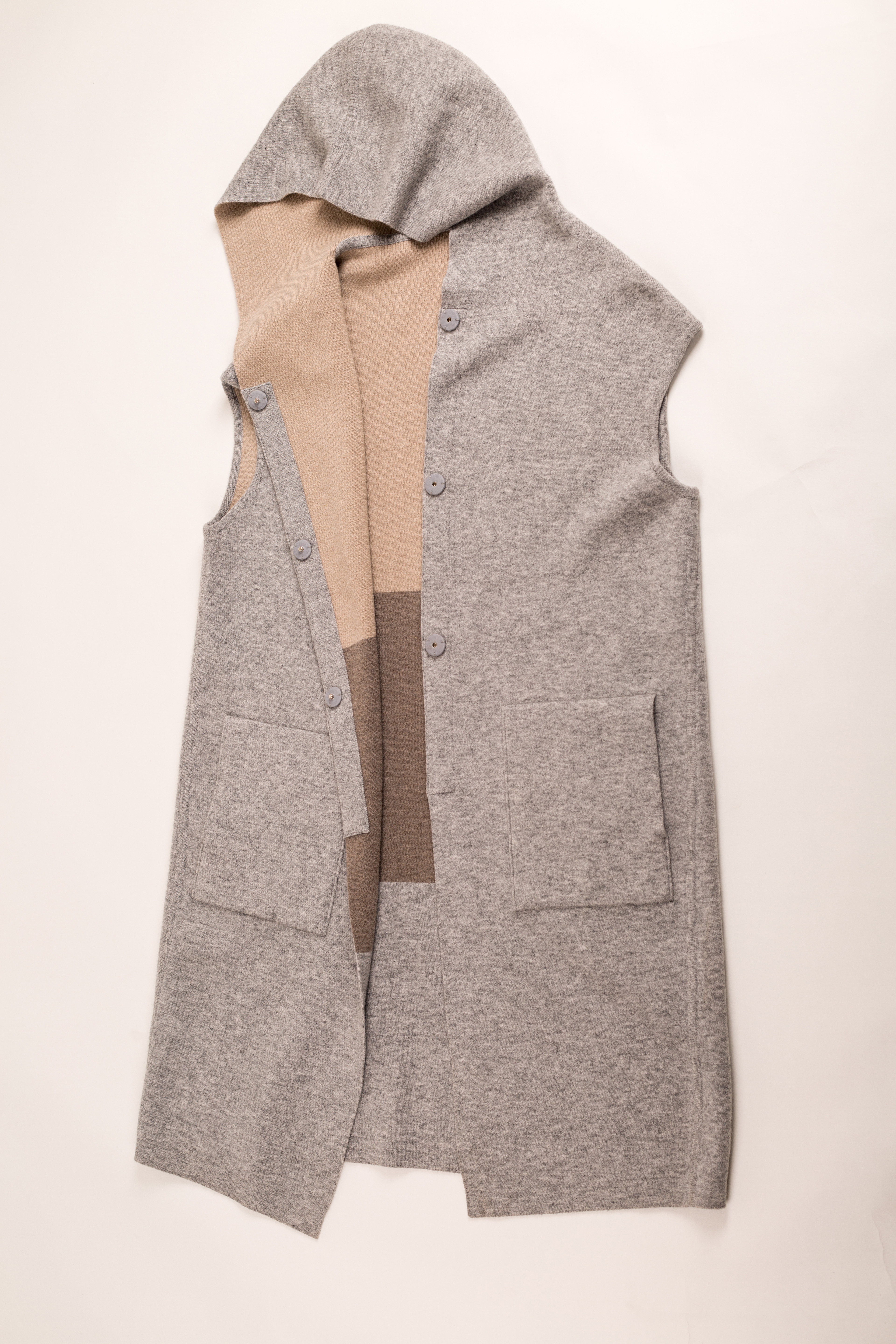 Wool Cashmere Mixed Women'S Long Hoodie Sleeveless Double Face Cardigan
